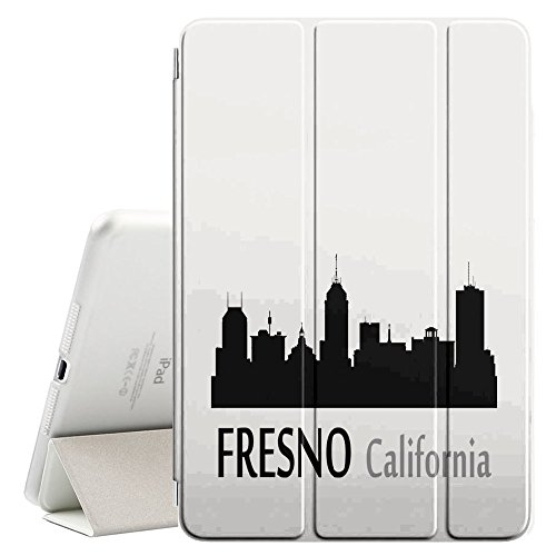 STPlus Fresno, California USA United States of America City Skyline Silhouette Postcard Smart Cover With Back Case + Auto Sleep/Wake Funtion + Stand for Apple iPad Mini 1/2/3 (One Fresno Apple)