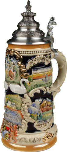 Beer Steins by King - Bavarian Castle Full Relief German Beer Stein (Beer Mug) 0.75l Limited (King Ludwig Beer)