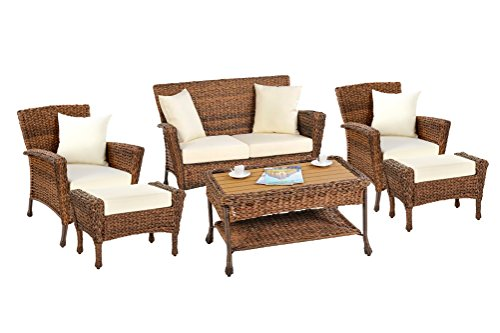 W Unlimited Rustic Collection Outdoor Garden Patio Light Brown Rattan Wicker Furniture Set Deep Seating Aluminum Frames Coffee Table (SW1529-SET6) (Patio Furniture Deep Aluminum Seating)