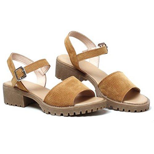 TAOFFEN Women Classic Open Toe Ankle Strap Slingback Block Heel Sandals 922 Brown 9z3qn
