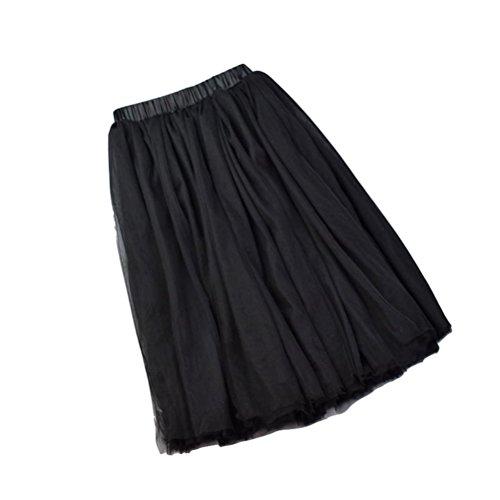 Mi Vintage Jupon Elastique Oudan Evasé Noir Taille Femme 5 Jupe Haute Tulle Elégant Tutu Longue Couches Yb6yf7gmIv