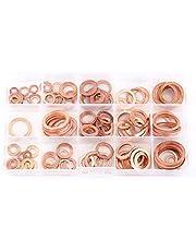 150pcs Copper Flat Washers Sealing Gaskets Assortment Set Kit with Handy Plastic Box Metric 15 Sizes