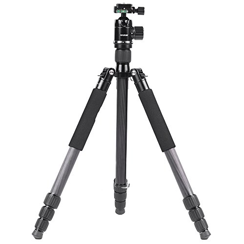 Andoer 170cm/ 67inch Carbon Fiber Tripod Foldable Monopod Unipod with 360 Degree Ball Head for Canon Nikon Sony DSLR, Max. Load 15kg/33lbs by Andoer