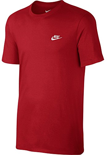 T-shirt Embroidered Athletic (NIKE Mens Club Embroidered Futura T-Shirt Sport Red/White 827021-611 Size Large)
