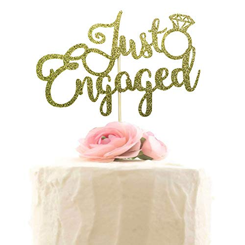 - Just engaged cake topper, Wedding Party Decoration, Engagement Cake Decorations - Gold Glitter