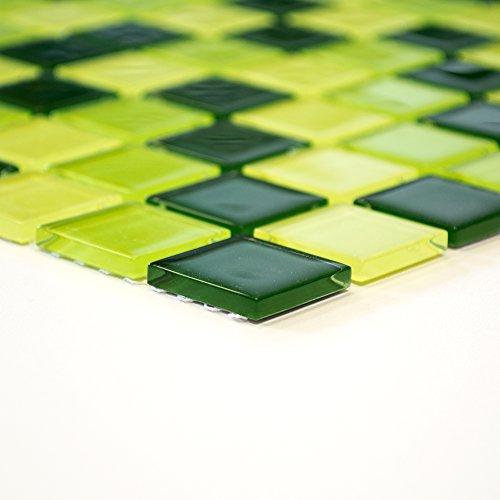 Fliesen Mosaik Mosaikfliese Bad Küche Crystal Quadrat grün Mix ...
