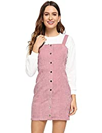 Women's Cute Strap Button up Corduroy Overall Sheath Pinafore Dress
