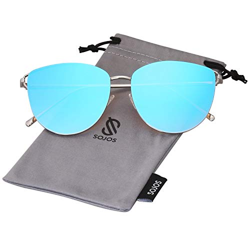 - SOJOS Mirrored Flat Lens Fashion Sunglasses for Women SJ1085 SJ2036 with Silver Frame/Gradient Blue Mirrored Lens