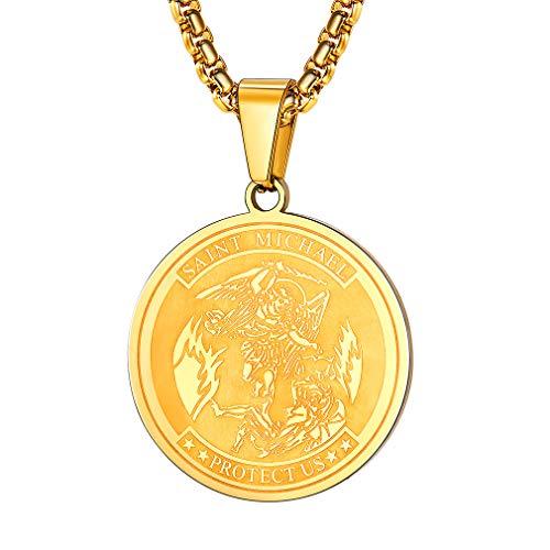 (FaithHeart Saint Michael Pendant Necklace, St. Michael The Archangel Necklace Jewelry (Round/Gold))