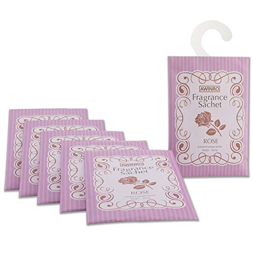 Awinro Rose Scented Sachets, Set of 6 Large Fresh Scent Packets Whit Hanger
