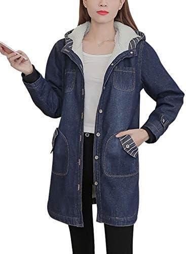 YUNY Women Outwear//Overcoat Short-Sleeve Button Denim Boyfriend Jacket Dark Blue S