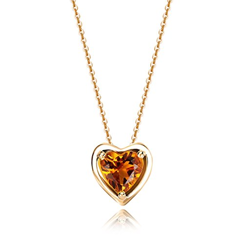 (Carleen Solid 14K Yellow Gold Birthday Heart Shape Gemstone November Solitaire Citrine Birthstone Necklace Pendant Delicate Dainty Fine Jewelry for Women Girl, 18 inch)