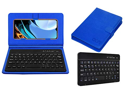 Acm Wireless Bluetooth Keyboard Case Compatible with Xiaomi Redmi 9 Power Mobile Flip Cover Stand Study Gaming Blue