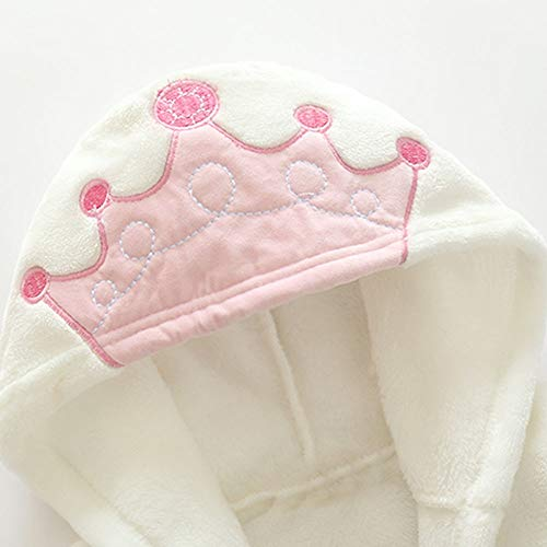 NUWFOR Baby Boys Girls Kids Bathrobe Crown Printing Hooded Towel Pajamas Clothes(White,12-18Months) by NUWFOR (Image #2)