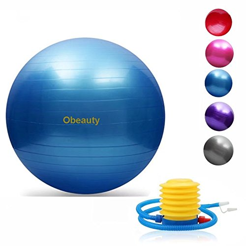 Obeauty Exercise Ball with Quick Foot Pump, Professional Grade Anti Burst & Slip Resistant Balance Ball for Yoga (Burst Resistant Feet Ball)