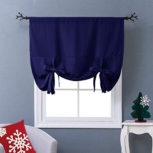 NICETOWN Balloon Shades Blackout Curtain - Adjustable Thermal Insulated Tie Up Curtain Panel Valance (Navy Blue, Rod Pocket Panel, 46 inches W x 63 inches L)