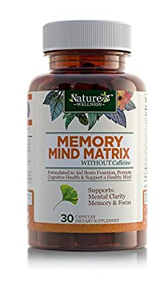 Nature's Wellness Memory Mind Matrix Dietary Supplement for Mental Clarity, Memory and Focus, 30 Capsules