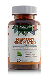 Natural Brain Function Support - Focus, Memory and Mental Clarity - Nootropic Brain Health Supplement - Mental Performance Booster - DMAE, Rhodiola Rosea Extract, Bacopa Monnieri, Ginkgo Biloba & More