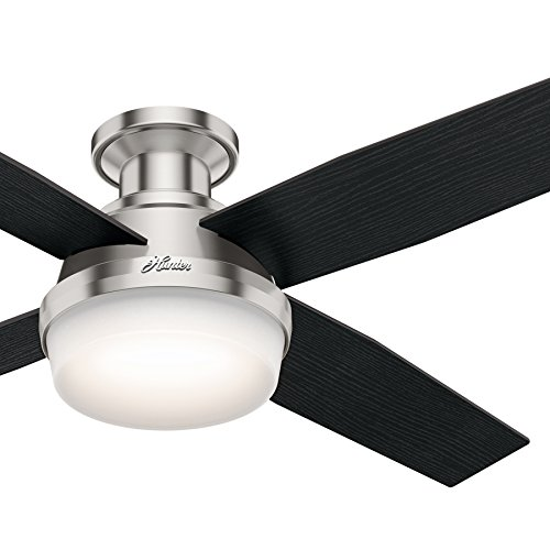 """Hunter Fan 52"""" Contemporary Low Profile Brushed Nickel Ceiling Fan with LED Light kit and Remote Control, 4 Blade (Certified Refurbished)"""