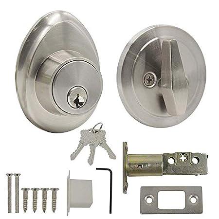4 Keys 3 Round Bolts Cylinder Lock Rim latch House for Main Gate//Metal Door