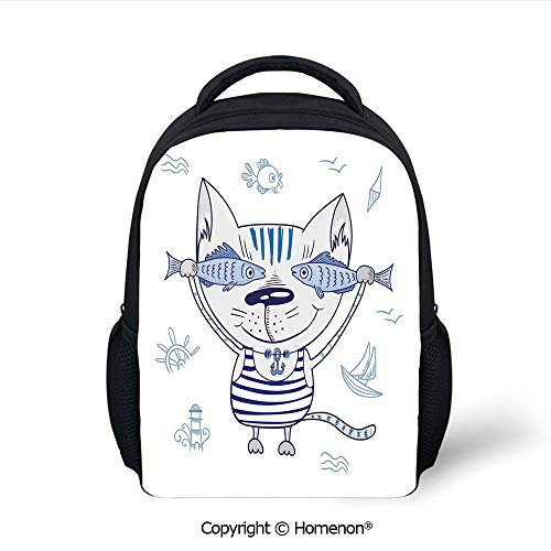 (3D Naughty Cat with Fish in Striped T Shirt Anchor Pendant and Nautical Sign Printing Backpack Fashion Kids School Bags Bookbag,(12.2
