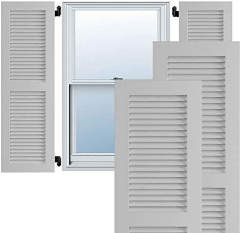 Amazon Com Ekena Millwork Tfp101lvf18x049pr True Fit Pvc Two Equal Louver Shutters Per Pair Hardware Not Included 18 W X 49 H Primed Home Improvement