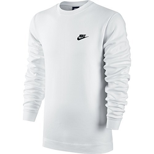 Nike Mens Sportswer Crew Fleece Club Sweatshirt White/Black 804340-100 Size Large (Nike Fleece Embroidered Basketball)