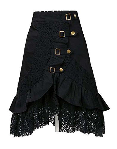 [Charmian Women's Plus Size Steampunk Goth Vintage Victorian Gypsy Hippie Lace Party Skirt Black] (Steampunk Gypsy Costume)