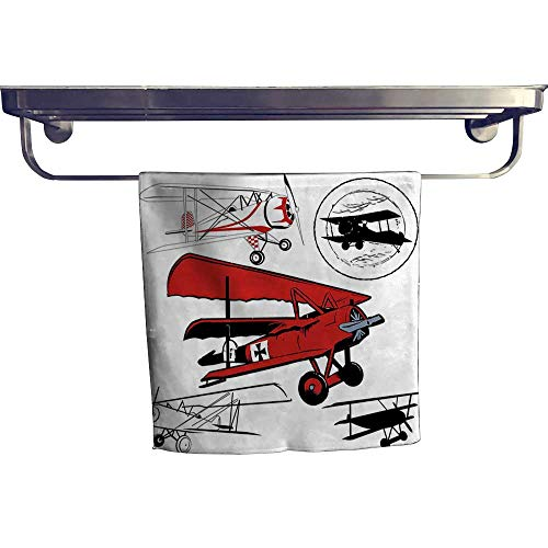 (Leigh home Pool Gym Towels,Airplane Various Biplanes Nostalgic Silhouettes Red ,Good Ideal for The Kid's Room, a Guest Room W 20