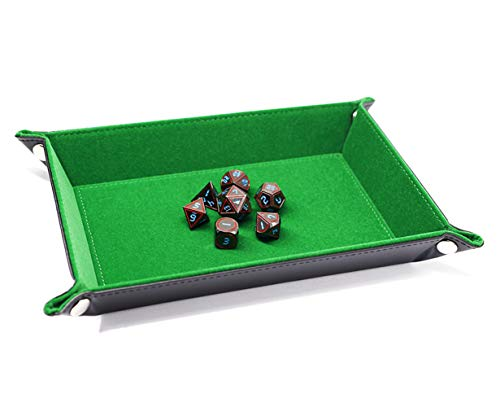 HD DND Dice Tray Folding Dice Holder for Dungeons and Dragons(D&D) Pathfinder RPG Dice Gaming Table Games PU Leather and Green Velvet Double Sided Dice Rolling Tray