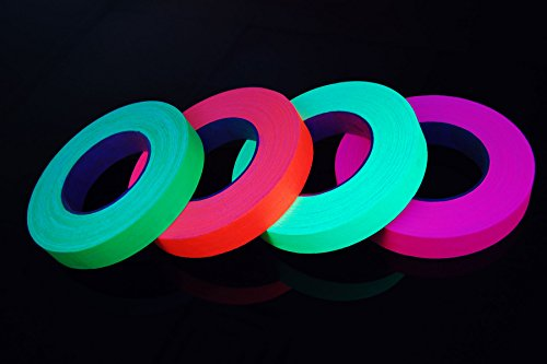 4 Pack 1 Inch Blacklight Reactive Fluorescent Gaffer Tape (50 Yards Per Roll)