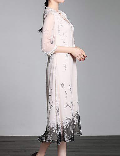 Pink floreale Abito sottile stampa da sofisticato tubino donna con collo Blushing YFLTZ a V OwqgBSnxq