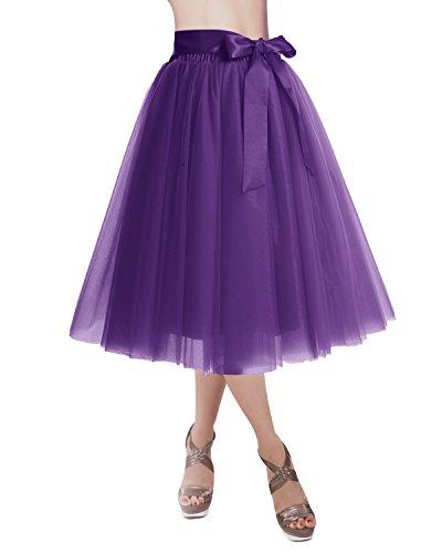 Dresstells Jupon Jupe en Tulle 4 Couches Ceinture Dtachable Couleurs Varies Violet