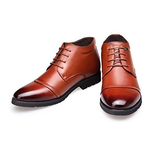 Winter Herren Lederschuhe Warm Halten Plus Plush Business Schuhe High Top Wanderschuhe 38-44 Brown