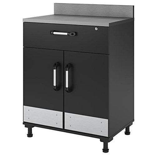 Altra SystemBuild Boss Charcoal Stipple 2 Door and 1 Drawer Base Cabinet, Dark Grey