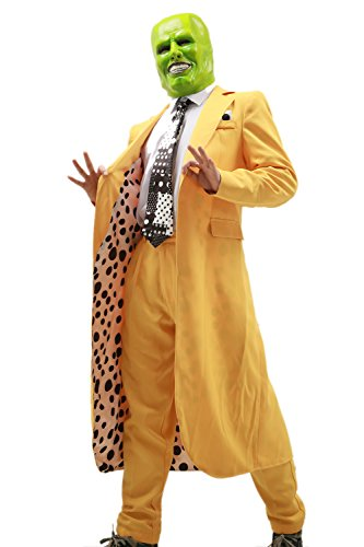 Xcoser Men's Jim Carrey Yellow Long Suit Costume Stylish Outfit Custom Made L]()
