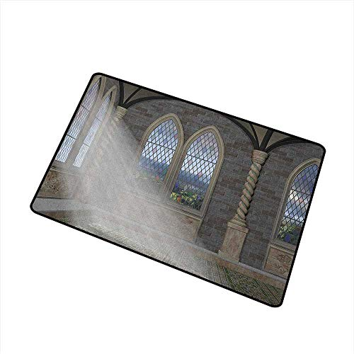 Fly Fishing Stained Glass Window - Wang Hai Chuan Fantasy Universal Door mat Crepuscular Rays Streaming Through Stained Glass Window Ancient Palace Castle Door mat Floor Decoration W29.5 x L39.4 Inch Grey Cream White