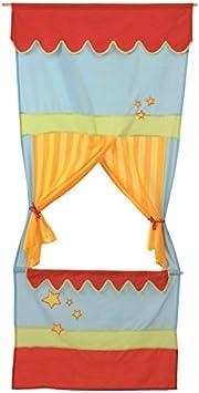 6 Handpuppen roba T/ür Kasperletheater platzsparendes Kinder Puppentheater inkl Kaspertheater zum Aufh/ängen mit Stoffbespannung