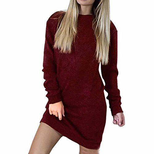 Backless lacet Robe Robe Rouge Robe sexy Manches Femme de Pull Amlaiworld longues nT6T10fq