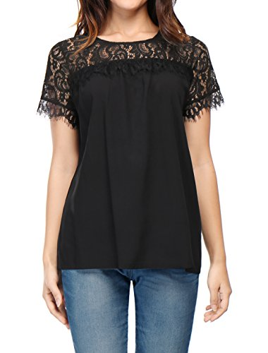 Allegra K Women's Lace Panel Upper Semi Sheer Yoke Short Sleeves Blouse XL Black