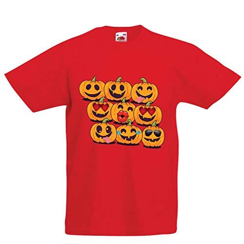 lepni.me Kids T-Shirt Pumpkin Emoji Funny Halloween Party Costume (7-8 Years Red Multi -