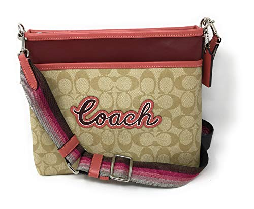 (COACH F72896 FILE CROSSBODY IN SIGNATURE CANVAS WITH COACH PRINT LIGHT KHAKI)