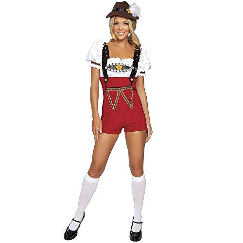 Ocktoberfest 4pc Women's Beer Bar Maid RED Lederhosen Costume -