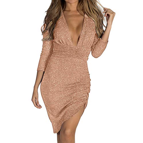 Euone Dress Clearance, Women Sexy Deep V Neck Slim Skinny Party Sequin Solid 3/4 Sleeve Mini Dress