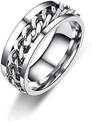 メンズ リング 個性的 ファッション シンプル ステンレス製 チェーンテザー 回転可能 指輪 金属アレルギー対応 (8)