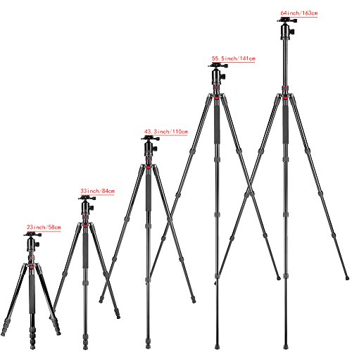 Neewer 64?/163cm Tripod Monopod with 360 Degree Ball Head,Fluid Video Head,1/4?Quick Release Plate,and Bubble Level Including Carrying Bag for DSLR Camera,Video Camcorder up to 22lbs/10kg