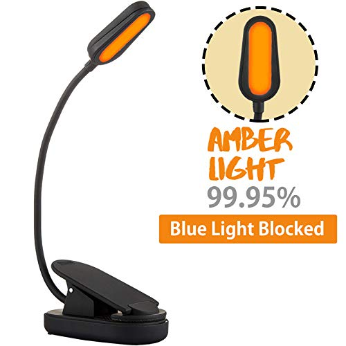(Amber Light Rechargeable Blue Light Blocking Reading Light | Warm LED Light for Strain-Free, Healthy Eyes | Base Clamp for Hands-Free Use On The Go | Perfect for Readers, Students, Kids, and More)