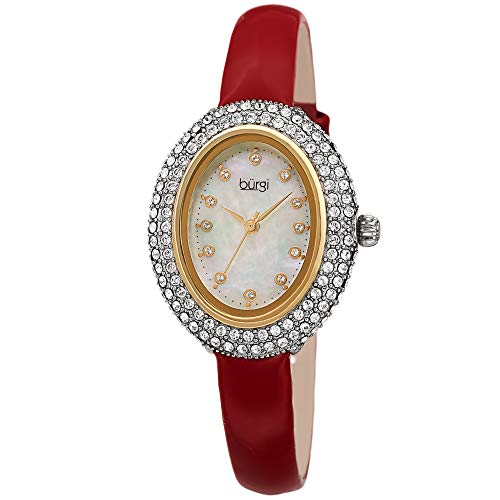 Burgi Swarovski Crystals Oval Watch – Genuine Swarovski Studded Double Row Crystals, Patent Leather Strap, 12 Crystal Markers On Mother of Pearl Dial - Mother's Day Gift-BUR234RD (Red)