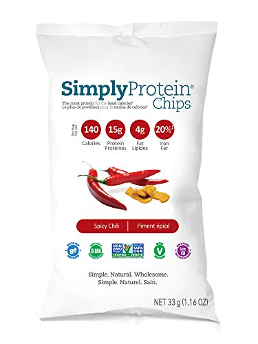 SimplyProtein Chips, Spicy Chili, GF and Vegan - 0.072 Pound, pack of 12