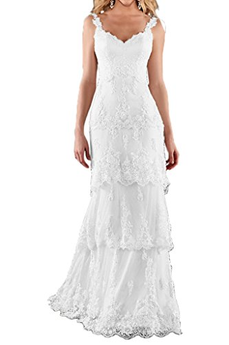MILANO BRIDE Romantic Beach Wedding Dress Sweetheart Backless Sheath Floral Lace-6-Pure White